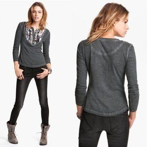 Free People   Sequined Henley Burnout Long Sleeve